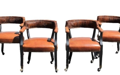 Set of (4) Cow Hide and Leather Chairs