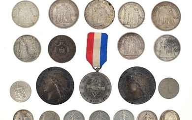 Set of silver coins and medals including
