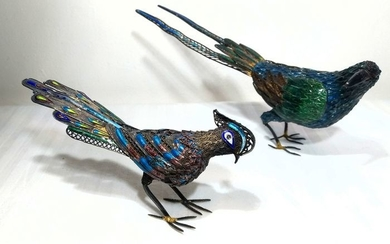Silver Birds (2) - Silver filigree and cloisonné enamel - Sterling silver 925 - Pheasant and Magpie - China - mid 20thc