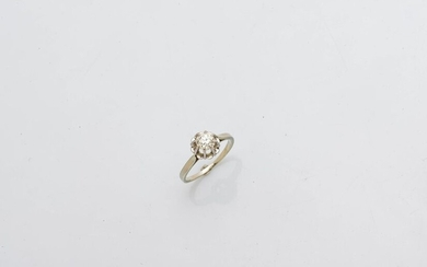Solitaire ring in 18 karat white gold (750 thousandths) and...