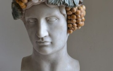 Studio Todini - Sculpture, bust of Antinous in Dionysian version - 51 cm - Marble - Late 20th century