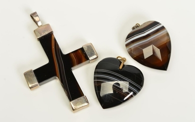 THREE BANDED AGATE PENDANTS, the first a heart, the second a...
