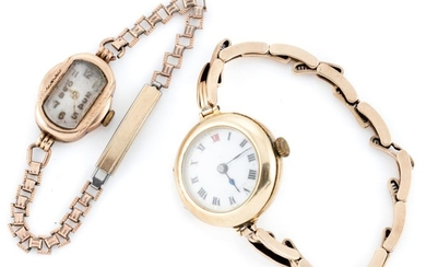 TWO LADY'S VINTAGE GOLD WRISTWATCHES; one with round case tests 15ct gold, white dial, Roman numerals, 15 jewel Swiss movement to a...