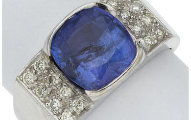 Tanzanite, Diamond, White Gold Ring The ring features a...