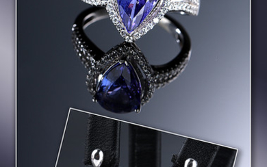 Tanzanite-and diamond jewellery set including a ring and a pair of stud earrings in 14 kt white gold, total 8.41 ct (3)