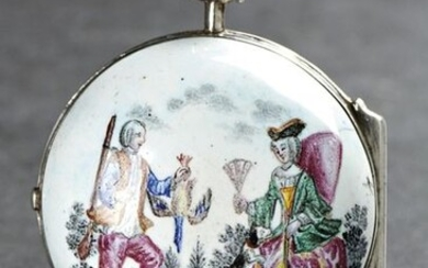 "Thomas Fridl, Salzburg, 48 mm, 92 g, circa 1750 A decorative verge pocket watch in an enamel case ""The Bird Hunting"" Case: silver, polychrome enamelled. Dial: enamel. Movm.: fine full plate movement, signed, gilt, chain/fusee, three-arm brass balance..."