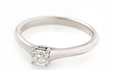 Tiffany & Co.: A diamond solitaire ring set with a Lucida-cut diamond weighing app. 0.30 ct., mounted in platinum. Size 50.5.