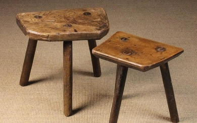 Two 19th Century Rustic Three-legged Stools. One having an elm slab seat with rounded corners to one
