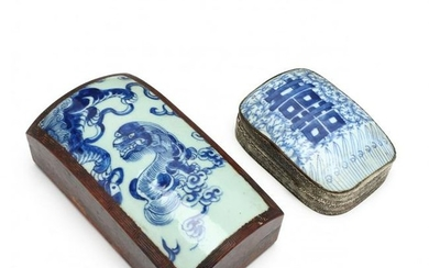 Two Chinese Boxes with Blue and White Porcelain Covers