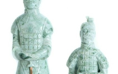 Two Chinese Green Jade Carved Warriors