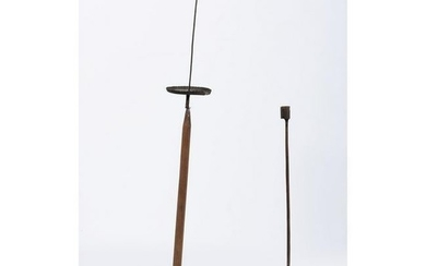 Two Early Candlestands with Wooden Bases