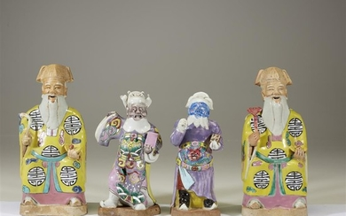 Two pairs of Chinese enameled porcelain figures late 18th...