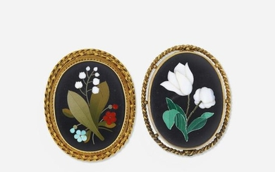 Two pietra dura brooches
