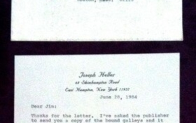 Typed Letter Signed about CATCH-22; 1 page (once folded), 8vo, to Prof. James Nagel concerning Heller's late military activities & a mistaken episode concerning his novel Catch-22