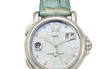 ULYSSE NARDIN. A LADY'S STAINLESS STEEL CALENDAR WATCH WITH DUAL TIME ZONE