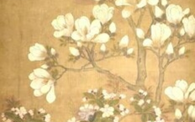 Unsigned Chinese Painting of Flower and Bird, Qing