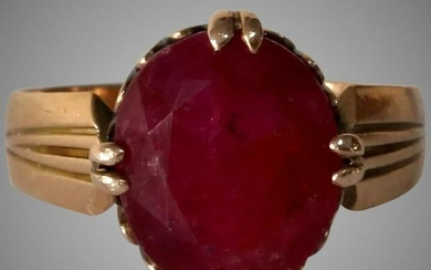Victorian Russian Ruby Ring | 14K Gold Antique |