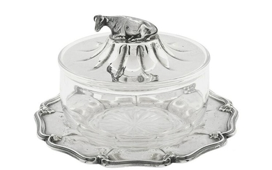 Victorian Sterling Silver and Glass Butter Dish