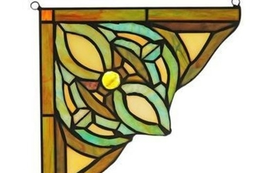 "Victorian Tiffany-glass Window Panel 8"" Wide"