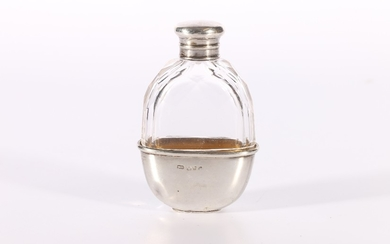 Victorian faceted glass hip or pocket flask of small proport...