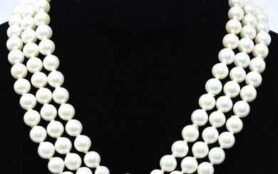 Vintage 3 Strand Faux Pearl & Moonstone Necklace
