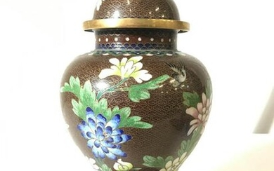 Vintage Asian Cloisonne Urn W Wooden Stand