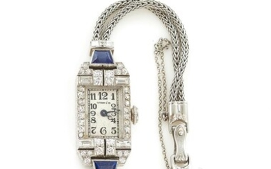 Vintage Tiffany & Co platinum, diamond, and sapphire wristwatch