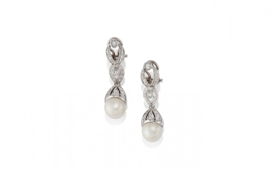 WHITE GOLD, DIAMOND AND PEARL RING AND PAIR OF PENDENT EARRINGS