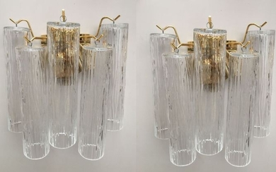 """Wall sconces pair """"pipe"""" glass (2)"""