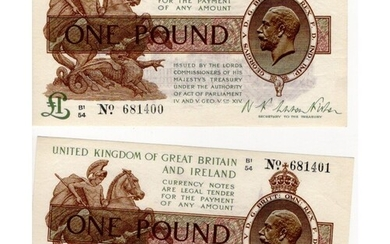Warren Fisher 1 Pound (2) issued 1923, a scarce consecutivel...