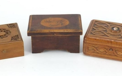 Wooden boxes including a Chinese Canton sandalwood