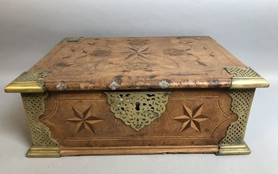 Wooden jewelry box. Decor inlaid with stars. 19...