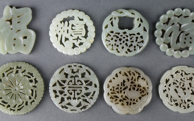 (lot of 8) A Group of Eight Chinese Carved Jade Plaques