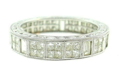 14k White Gold Princess Cut Diamond Band