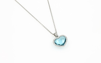 18 kt gold pendant with aquamarine and...