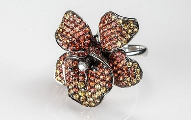 18K French sapphire orchid ring