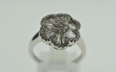 18ct white gold & diamond cluster ring, size P