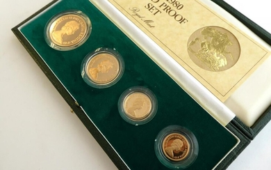 1980 Gold Four-Coin Proof Set Consisting of Proof Quintuple Sovereign,...