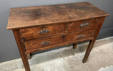 19th C Chinese Elm Console Table, Iron Handles