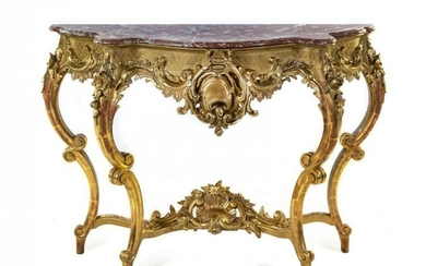 19th C. Louis XV Style Giltwood Marble-Top Console