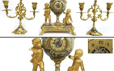 19th C. Tiffany & Co Gilt Bronze Champleve Clock Set