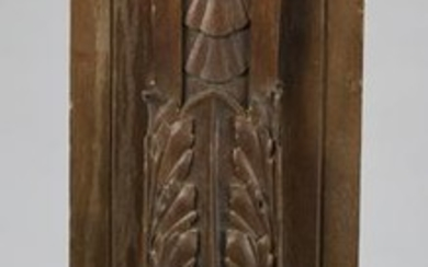19th c. Continental carved walnut architectural panel