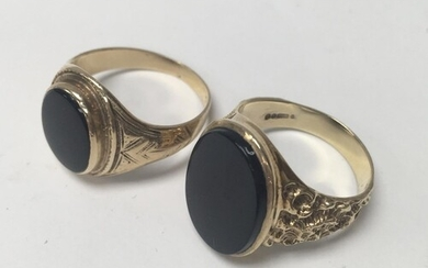 2 9ct gold gents rings (16.2g).