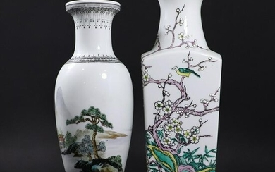 2 Assorted Chinese Porcelain Vases with Decorated Scene