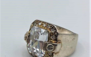 .925 Large Sterling Ring Large Crystal Stone,Rhinestone