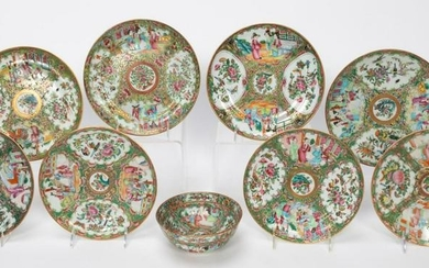 9PC., 19TH C. CHINESE ROSE MEDALLION TABLEWARE