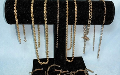 A 9 carat gold coin bracelet mount; various neck chains mark...
