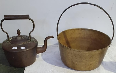 A BRASS AND COPPER KETTLE AND A JAM POT