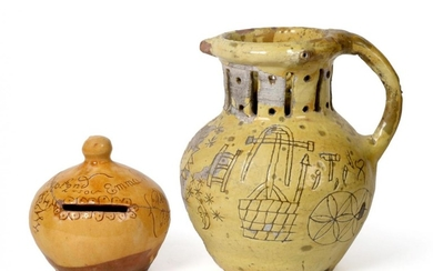 A Barnstaple Slipware Puzzle Jug, dated 1822, of traditional baluster...