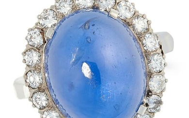 A CEYLON NO HEAT SAPPHIRE AND DIAMOND CLUSTER RING in